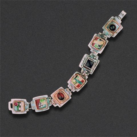 bracelet: sterling silver, mixed media