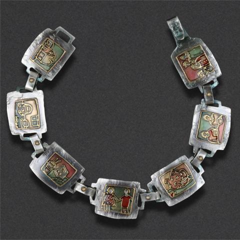 bracelet: sterling silver, epoxy resin inlay
