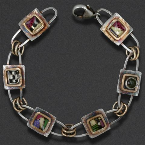 bracelet: sterling silver, epoxy resin inlay