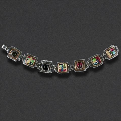 bracelet: sterling silver, hand colored