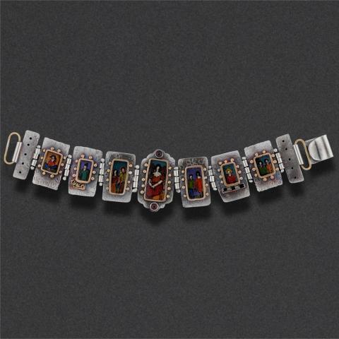 bracelet: sterling silver, polyshrink,