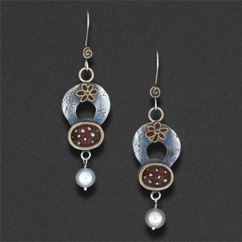 earring: sterling silver, hand coloured, freshwater pearls