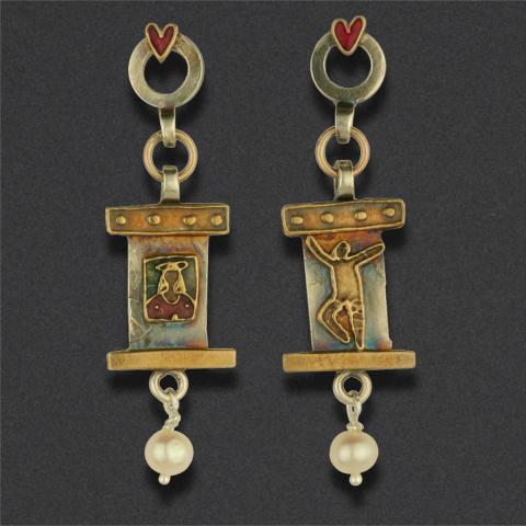 earring: sterling silver, brass