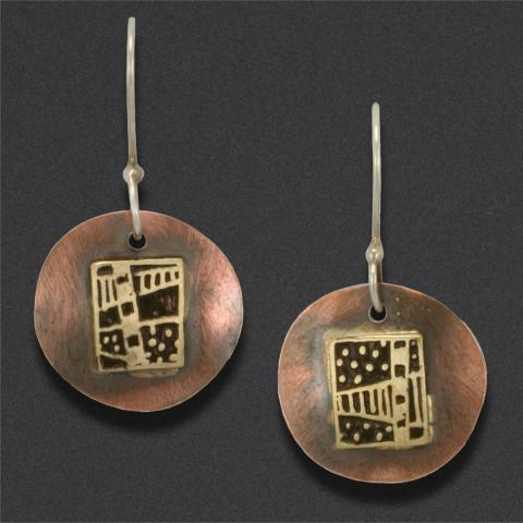 earring: sterling silver, brass, copper